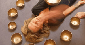 on floor with bowls