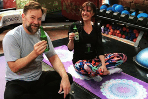 Lehmo tried beer yoga with Margie at Vibes Fitness Melbourne